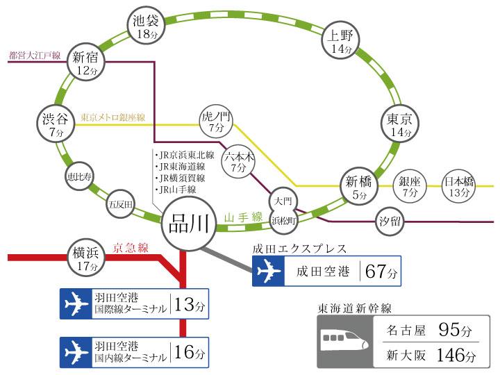 品川駅までのご案内イメージ